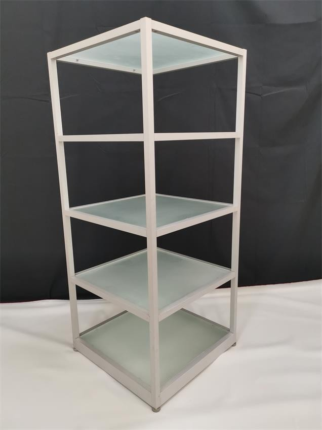 Display rack with frosted glass panels